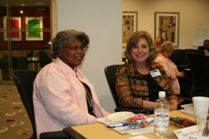 Sheila Richardson and Eileen Allen enjoying discussion at SpeedReading People workshop in May 2008